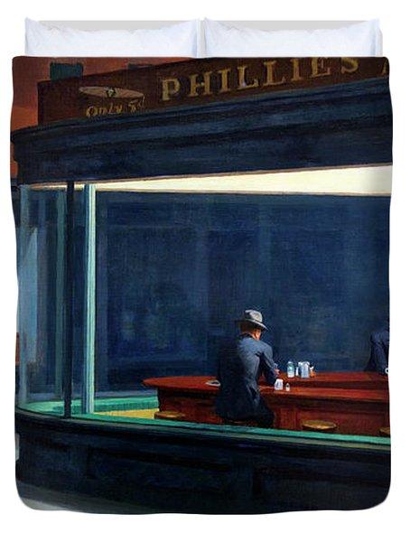 Nighthawks By Edward Hopper Duvet Cover
