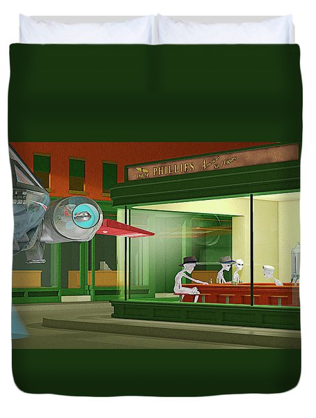 Duvet Cover featuring the photograph Nighthawks Invasion by Peter J Sucy