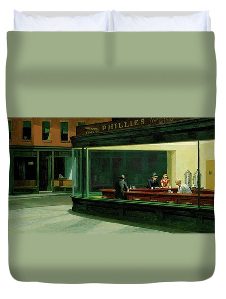 Duvet Cover featuring the photograph Nighthawks by Sean McDunn