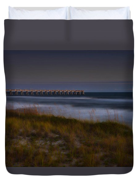 Nightlife By The Sea Duvet Cover
