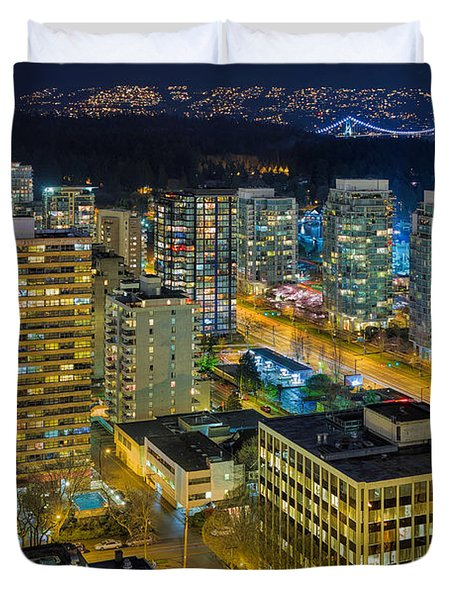 Nightlife On The Other End Of Robson Street Duvet Cover by David Gn