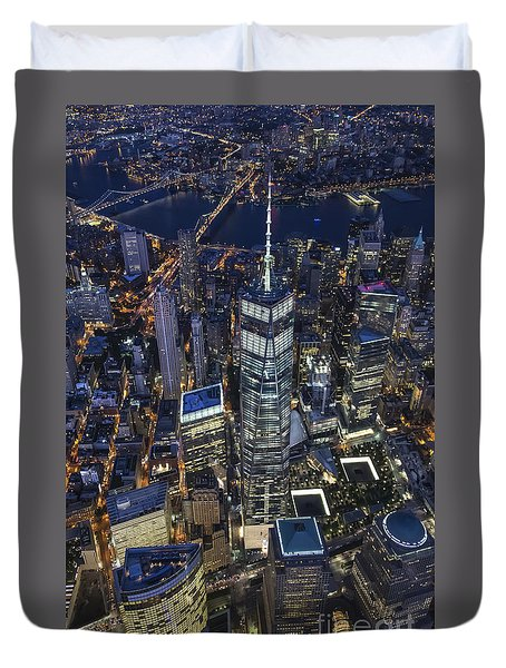 Nighttime Aerial View Of 1 Wtc Duvet Cover