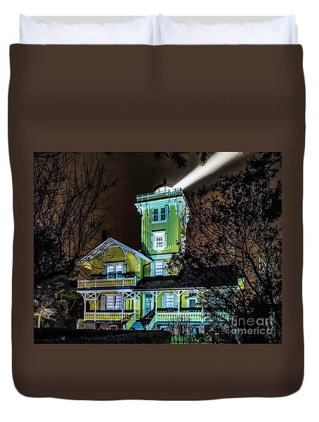 Duvet Cover featuring the photograph Nighttime Fog At Hereford Inlet by Nick Zelinsky