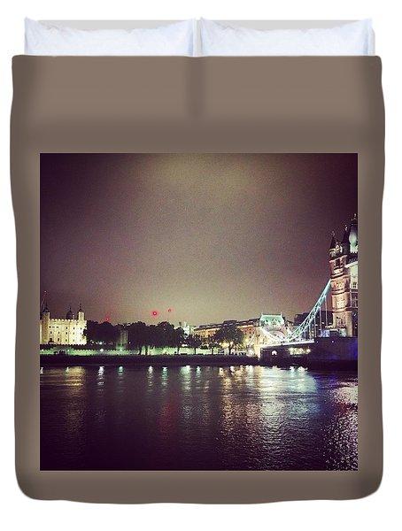 Nighttime In London Duvet Cover by Nancy Ann Healy