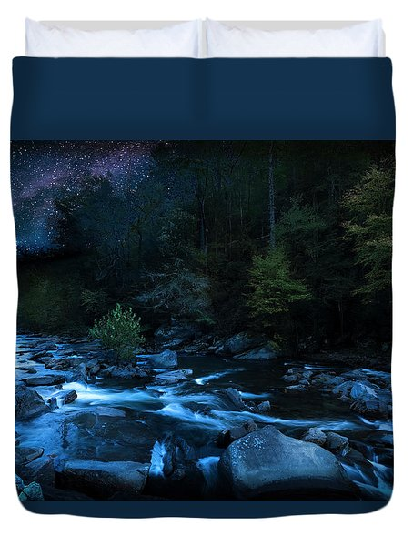 Nighttime On The Cheoah River  Duvet Cover