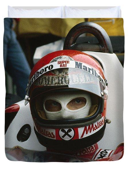 Niki Lauda. 1977 Austrian Grand Prix Duvet Cover