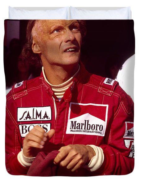 Niki Lauda. Marlboro Mclaren International Duvet Cover