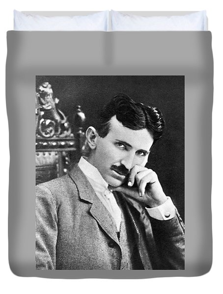 Duvet Cover featuring the photograph Nikola Tesla by Artistic Panda