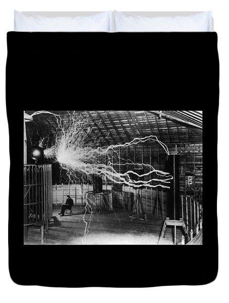 Nikola Tesla - Bolts Of Electricity Duvet Cover