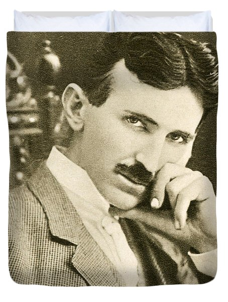 Nikola Tesla, Serbian-american Inventor Duvet Cover by Photo Researchers