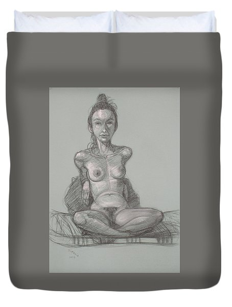 Duvet Cover featuring the drawing Nina Seated by Donelli  DiMaria