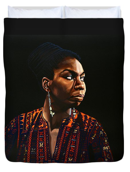 Nina Simone Painting Duvet Cover by Paul Meijering