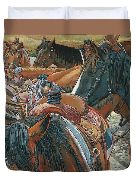 Duvet Cover featuring the painting Nine Saddled by Nadi Spencer