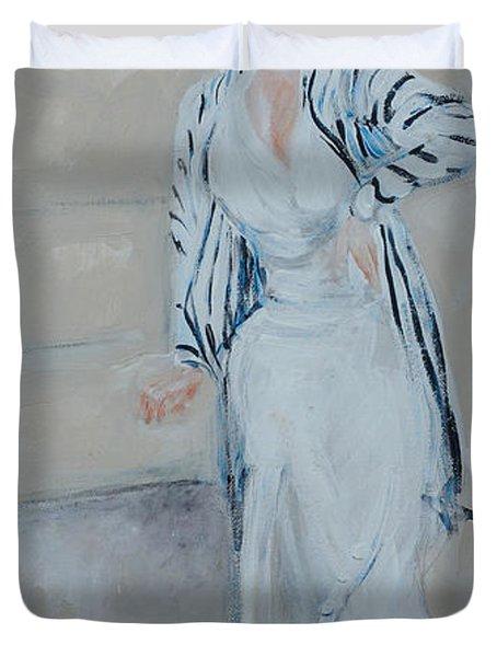 Nineteen Twenties Lady In Striped Jacket Duvet Cover