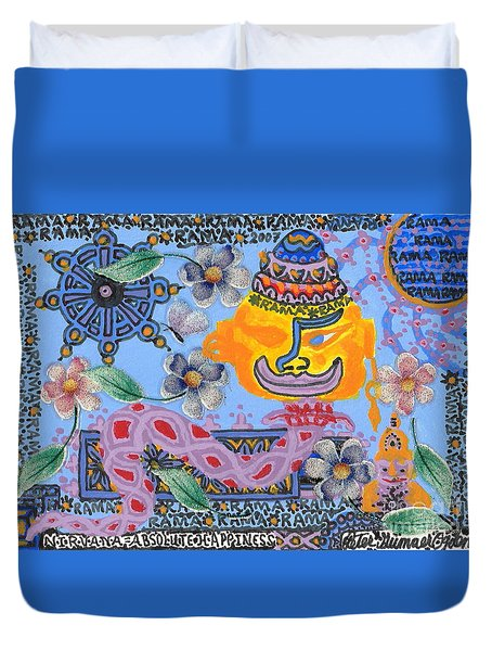 Duvet Cover featuring the painting Nirvana Equals Absolute Happiness by Peter Gumaer Ogden