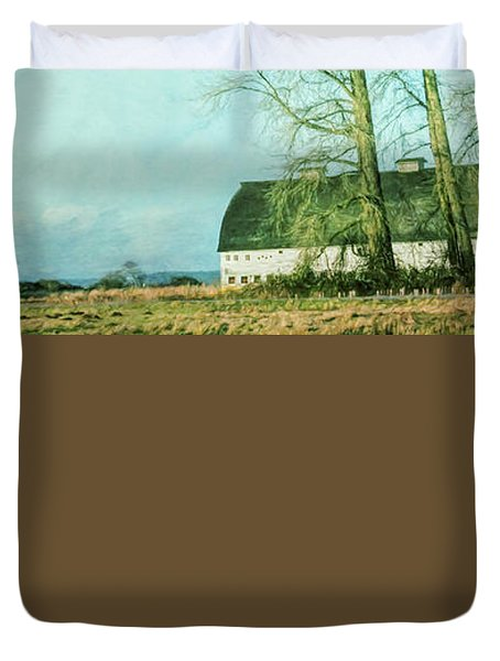 Duvet Cover featuring the photograph Nisqually Barns by Jean OKeeffe Macro Abundance Art