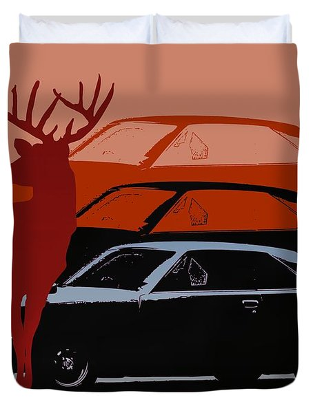 Nissan 210 With Deer 3 Duvet Cover