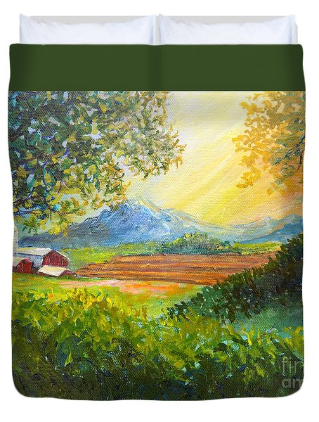 Duvet Cover featuring the painting Nixon's Majestic Farm View by Lee Nixon