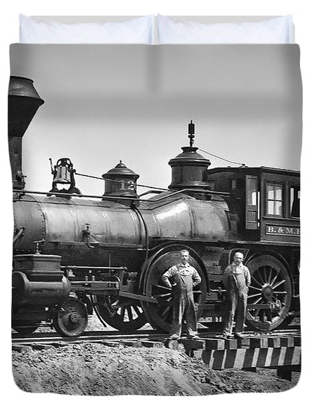 No. 120 Early Railroad Locomotive Duvet Cover by Daniel Hagerman