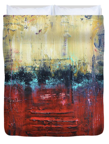 Duvet Cover featuring the mixed media No. 337 by Patricia Lintner
