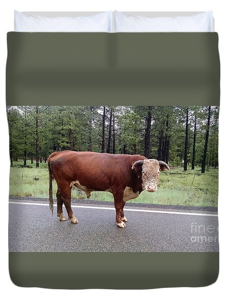 Duvet Cover featuring the photograph No Bull by Roberta Byram