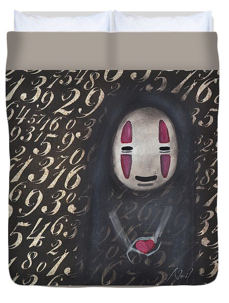 No Face With A Heart Duvet Cover by Abril Andrade Griffith