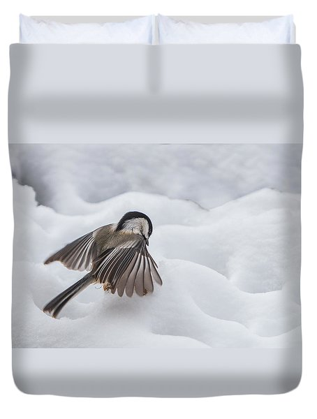 Chickadee - Wings At Work Duvet Cover