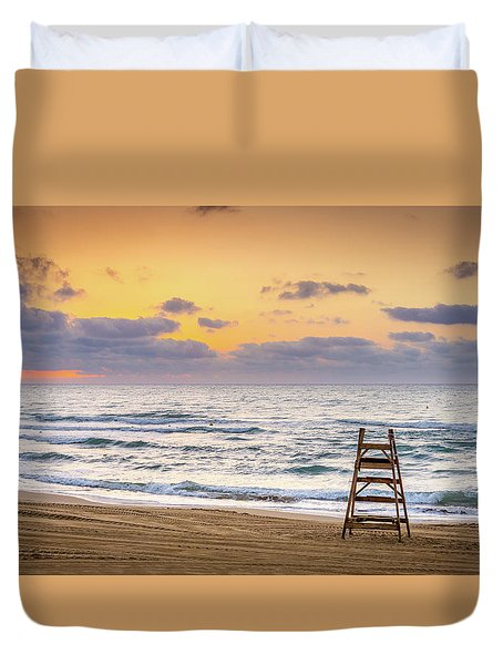 Duvet Cover featuring the photograph No Lifeguard On Duty. by Gary Gillette