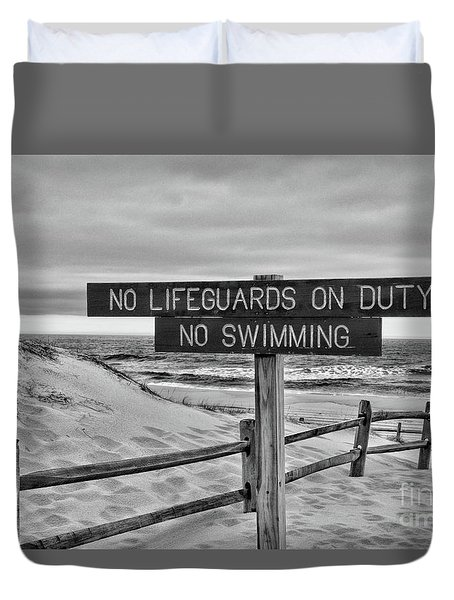 No Lifeguards On Duty Black And White Duvet Cover by Paul Ward