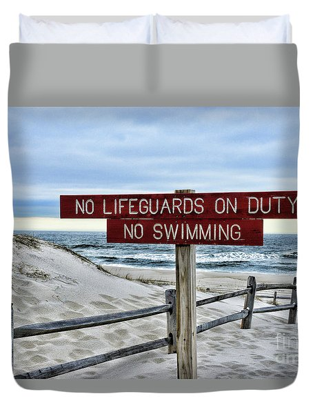 No Lifeguards On Duty Duvet Cover by Paul Ward