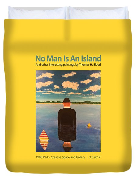 No Man Is An Island T-shirt Duvet Cover by Thomas Blood