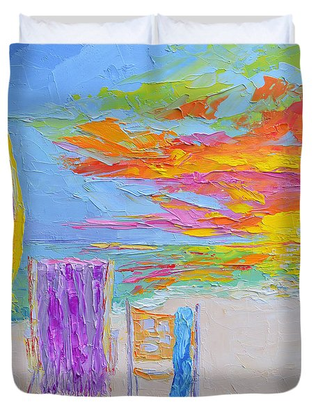 No Need For An Umbrella - Sunset At The Beach - Modern Impressionist Knife Palette Oil Painting Duvet Cover