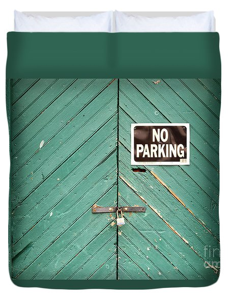 No Parking Warehouse Door Duvet Cover