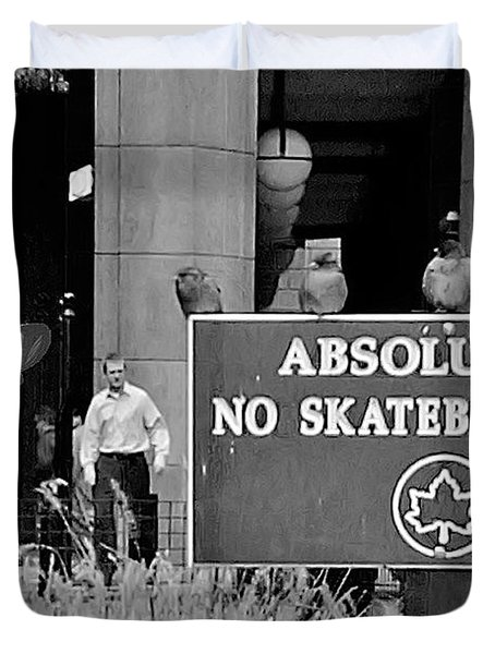 No Skateboarding Duvet Cover by Brian Wallace