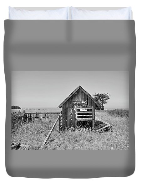 No Spring Chicken In Black And White Duvet Cover