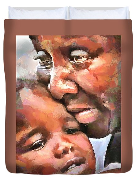 Duvet Cover featuring the painting No Woman No Cry by Wayne Pascall