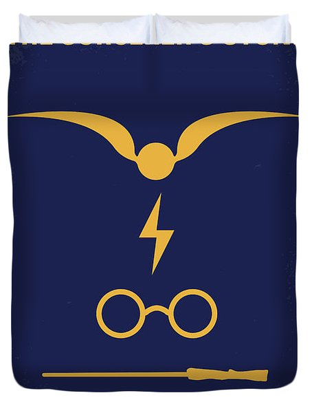 No101-1 My Hp - Sorcerers Stone Minimal Movie Poster Duvet Cover