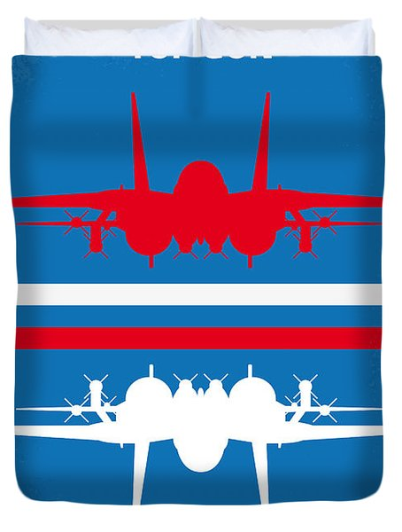 No128 My Top Gun Minimal Movie Poster Duvet Cover by Chungkong Art