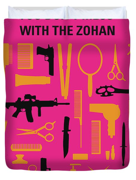 Duvet Cover featuring the digital art No743 My You Dont Mess With The Zohan Minimal Movie Poster by Chungkong Art