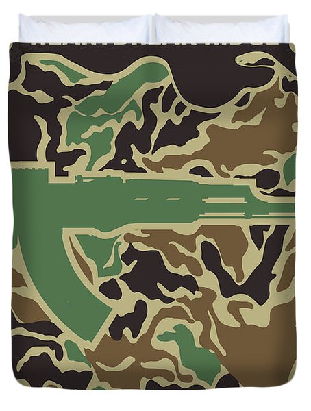 Duvet Cover featuring the digital art No747 My Heartbreak Ridge Minimal Movie Poster by Chungkong Art