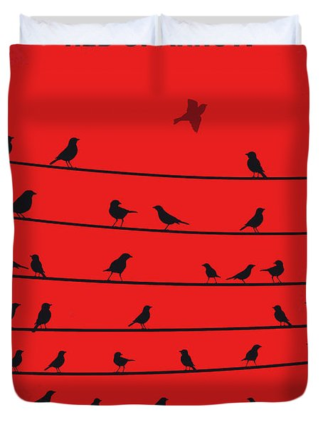No960 My Red Sparrow Minimal Movie Poster Duvet Cover