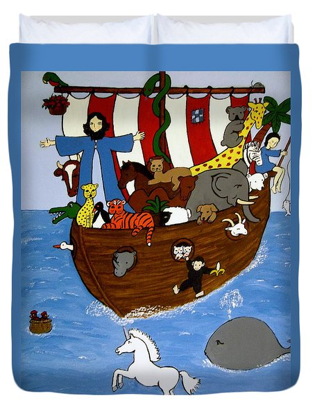 Duvet Cover featuring the painting Noah's Ark by Stephanie Moore