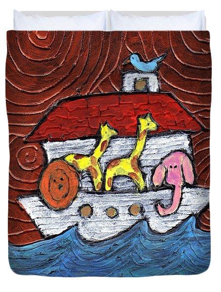 Noahs Ark With Blue Bird Duvet Cover