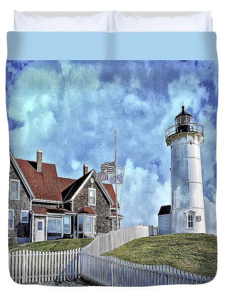 Nobska Point Lighthouse Falmouth Cape Cod Duvet Cover by Constantine Gregory