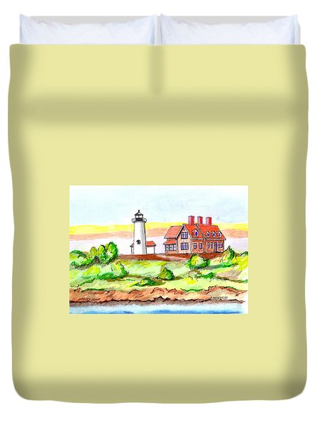 Nobska Point Lighthouse Duvet Cover by Paul Meinerth