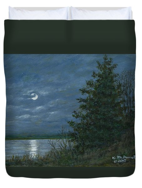 Duvet Cover featuring the painting Nocturne In Blue by Kathleen McDermott