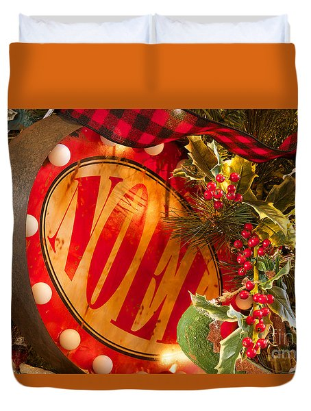 Duvet Cover featuring the photograph Noel Sign by Vinnie Oakes