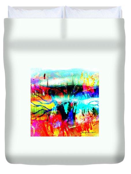 Duvet Cover featuring the mixed media Noel Tree by Fania Simon