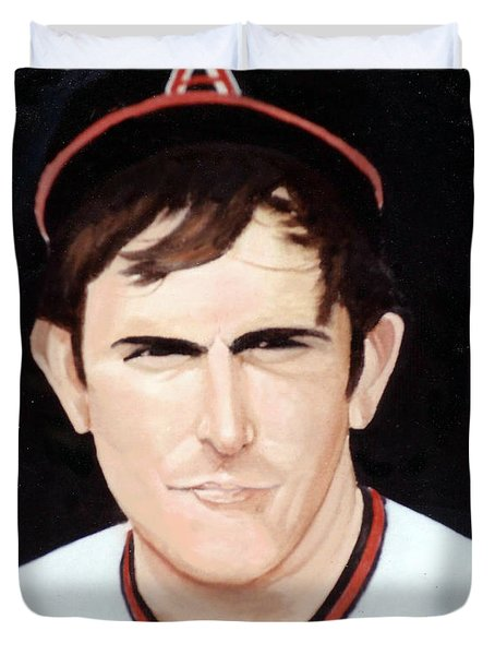 Nolan Ryan With The Angels Duvet Cover