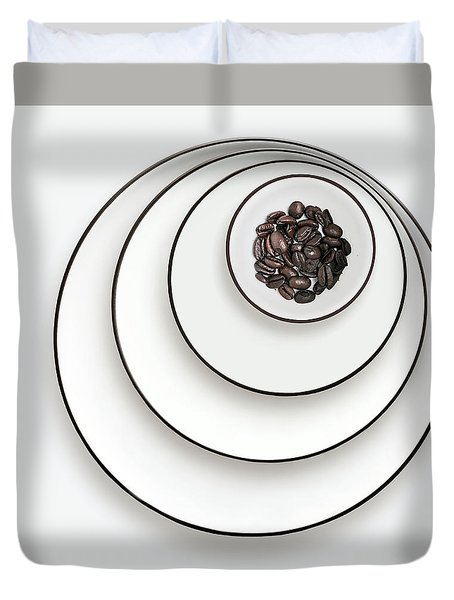Duvet Cover featuring the photograph Nonconcentric Dishware And Coffee by Joe Bonita